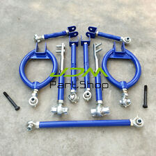 For Nissan 180SX 200SX S13 Suspension Drift Camber Arm Kit Blue Front + Rear