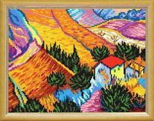 "Cross Stitch DIY Kit / Printed Canvas ""Ploughman House by V. van Gogh"" 24x32 cm"