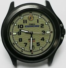 2005 - Timex Expedition Indiglo 50m Mens Black Case PVD Wrist Watch - No Strap