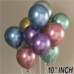 "10-50X Mixed 10"" Inch Chrome Latex Helium Pearl Metallic Ballons Birthday decor"