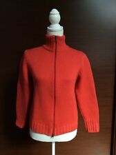 CARDIGAN CON COLLO ALTO IN PURA LANA VERGINE COLORE ARANCIO Tg 42 Made In ITALY