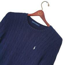 Women's RALPH LAUREN Premium Navy Blue CABLE KNIT Jumper Size M *VGC*