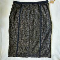 New Rachel Roy Black Skirt Gold Flower Lace Overlay Pencil Length Size 12