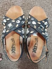 Women's XTI summer sandals jewels stones bling genuine leather cork rope £60 new