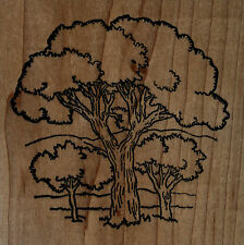 """mounted  rubber stamps  Tree with Landscape  mount 4"""" X 4"""""""