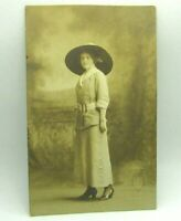 c 1910 Pretty Woman In Large Hat Suit Dress RPPC Photo Postcard Fashion Cyko