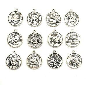 12 or 60 BULK pcs Silver Zodiac Coin Charms - US Seller - AS150