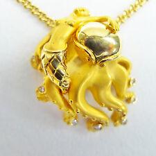 "Carrera Y Carrera Mermaid & Octopus Pendant 18k Yellow Gold 7 Diamonds 17"" Chain"