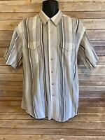 Wrangler Short Sleeve Pearl Snap Size 18 Mens Striped Top Western Button Down
