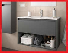 bathroom cabinet vanity wall hung sink furniture unit 800 mm with drawer basin