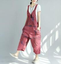 Lady Printed Distressed Washed Pants Nine-Point Female Stitching Denim Overalls