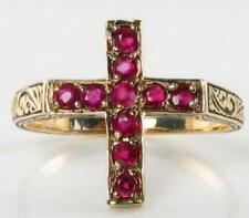 9K 9CT GOLD INDIAN RUBY RELIGIOUS CROSS CRUCIFIX RING FREE RESIZE