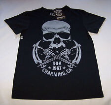 Sons Of Anarchy Skull Mens Black Printed T Shirt Size XXS New