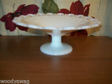Anchor Hocking Milk Glass Old Colony Lace Edge 11 inch Footed Fruit Bowl Vintage
