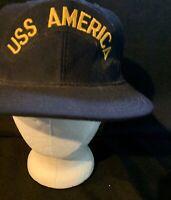 USS AMERICA vintage navy blue adjustable cap / hat Snapback Green Bill