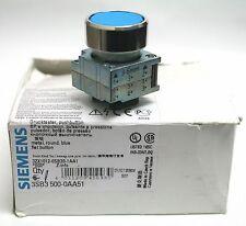 Lot of 2 SIEMENS 3SB3-500-0AA51 Metal Pushbutton Round Blue Flat Momentary 22 mm