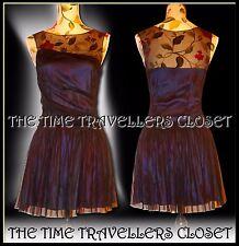 Topshop KATE MOSS Navy Blue Silk Mini Dress Black Draped Tulle Sheer Mesh UK8 10