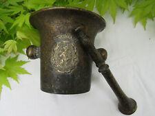 Ancien mortier pilon d'Apothicaire en bronze blason au lion Héraldique mortar