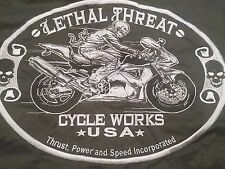 Lethal Threat Custom Motorcycle Huge Patch S/S Button Up Work Shirt L NWT