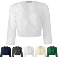 Women Lace Shrug Bolero Jacket 3/4 Sleeve Open Cardigan Blouse Top Evening Dress