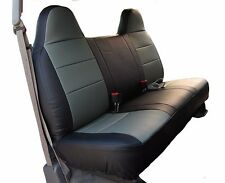 FORD F-250 350 BLACK/CHARCOAL LEATHER-LIKE CUSTOM FIT FRONT BENCH SEAT COVER
