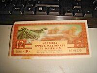 biglietto LOTTERIA IPPICA NAZIONALE DI MERANO 1942