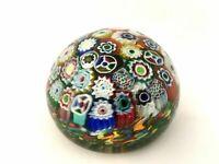 """MILLEFIORI Murano 3 1/2"""" Concentric Art Glass Closepack Paperweight"""