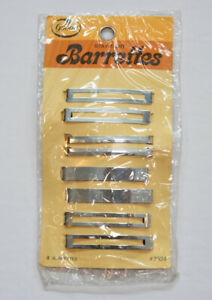 Vintage Goody Silver Stay Tight  Barrettes 7924 Pack of 8 New in Package 1975