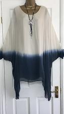 NEW ITALIAN LAGENLOOK DIP DYE SILK TUNIC DRESS BEIGE FIT 14 16 18 20 22 C279