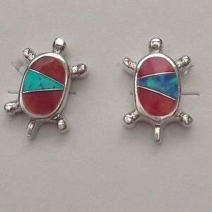 Sterling Silver Handmade Inlay Stone with Opal Turtle Shape Stud Earrings