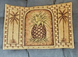Tropical Pineapple Tapestry Cloth Placemat Brown