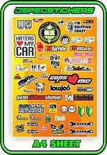 SCALE STICKER SHEET A4 R/C 1/10 DRIFT DRAG CAR JDM STICKERBOMB HPI MST YOKOMO