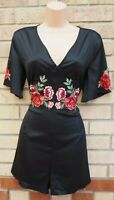 LOVE & OTHER THINGS BLACK RED ROSES FLORAL EMBROIDERED SATIN PLAYSUIT 14 L