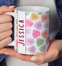 Personalised Love Hearts Mug, Valentines Gift, Mothers Day Gift, Love Hearts