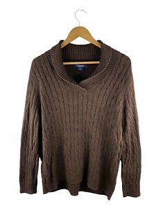VINTAGE Chaps by Ralph Lauren Cable Knit Jumper Mens Size 2XL Brown Long Sleeve