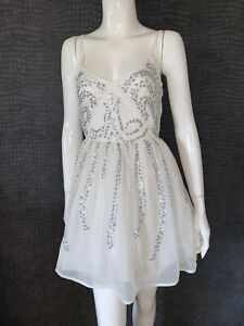 NEW WITH TAGS - ASOS SEQUIN SKATER DRESS WHITE & SILVER - UK 6