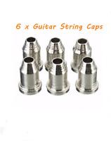 "6 Chrome Guitar 1/4"" String Ferrules Cups Cigar Box & Telecaster guitars"