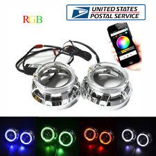 "2Pcs 3.0"" RGB Halo Rings LED Angel Eye Phone Bluetooth APP Control for Car SUV"