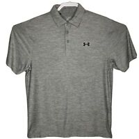 Under Armour Mens Medium Heat Gear Loose Fit S/S Golf Shirt Heather Gray EUC