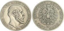 2 Mark 1876 A  Mecklenburg-Schwerin  J.84 Friedrich Franz II  fast ss