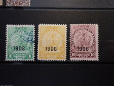 3x Timbres Stamps PARAGUAY Type 1905 Surcharge Overprint 1908 Yt 169 170 171 *