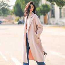 Trendy Women Slim Wool Coat Trench Lapel Collar Winter Long Outwear Jacket Party