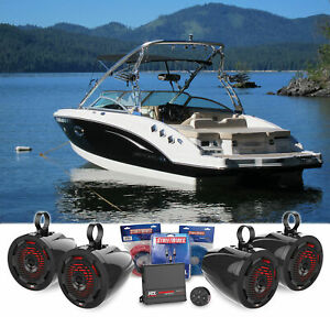 """4 For MTX 6.5"""" Marine Wakeboard Tower Speakers+LED's+Amplifier+Bluetooth Control"""