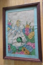 Antique fine embroidery needlework girl watering flowers framed picture on linen
