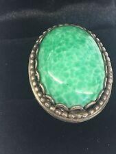Vintage HUGE Bohemian Sterling Silver Poison/Pillbox Turquoise Adjustable Ring