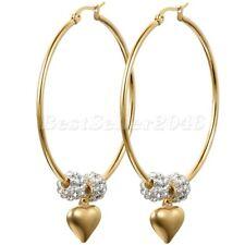 50MM cerchio grande Oro in acciaio inox amore cuore penzolare orecchini regalo