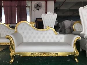 "New Huge 83"" Gilt Gold Chaise Lounge  Sofa Couch Weddings"
