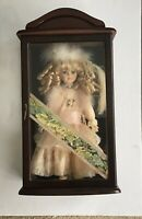 Vintage Little Ladies Limited Edition Collectable Porcelain Doll In Wood Cabinet