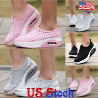 Women's Mesh Platform Shoes Breathable Slip On Running Sneakers Trainer Loafers