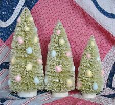 Bethany Lowe Faux Jelly Bean Green Christmas Easter Bottle Brush Trees Set of 3